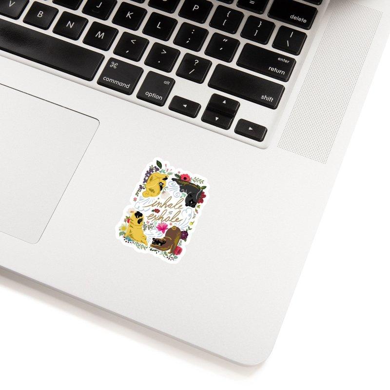 Inhale Exhale Pug Yoga Accessories Sticker by huebucket's Artist Shop