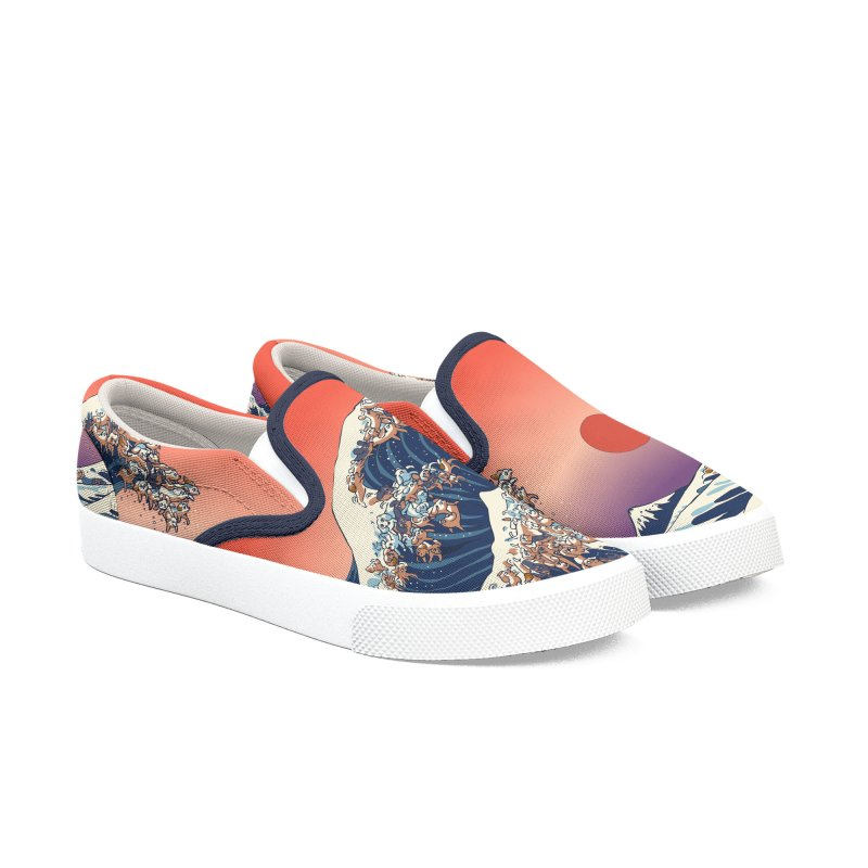 The Great Wave of Dachshunds Women's Slip-On Shoes by huebucket's Artist Shop