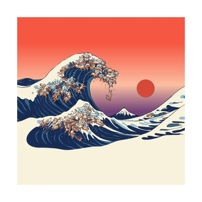 The Great Wave of Dachshunds Home Mounted Aluminum Print by huebucket's Artist Shop