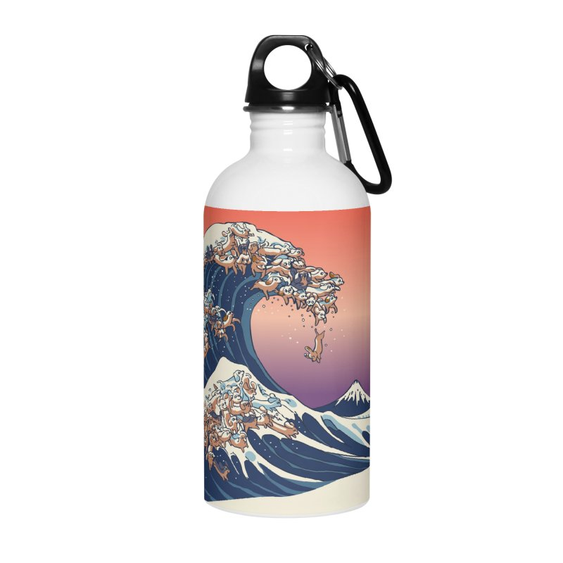 The Great Wave of Dachshunds Accessories Water Bottle by huebucket's Artist Shop
