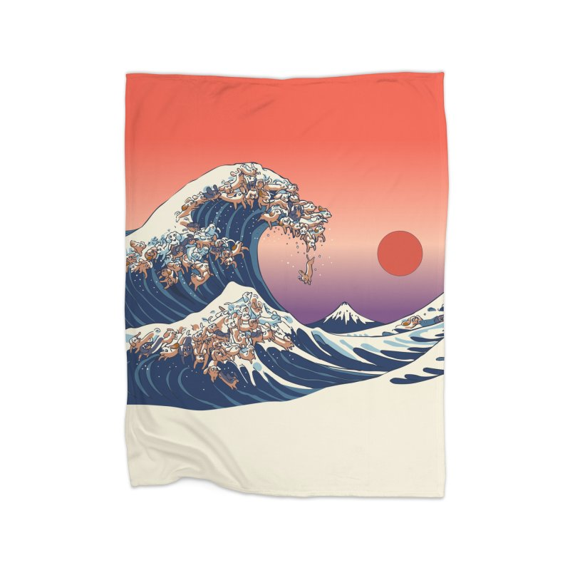 The Great Wave of Dachshunds Home Fleece Blanket Blanket by huebucket's Artist Shop