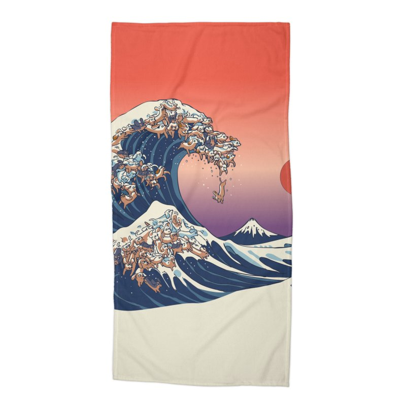 The Great Wave of Dachshunds Accessories Beach Towel by huebucket's Artist Shop