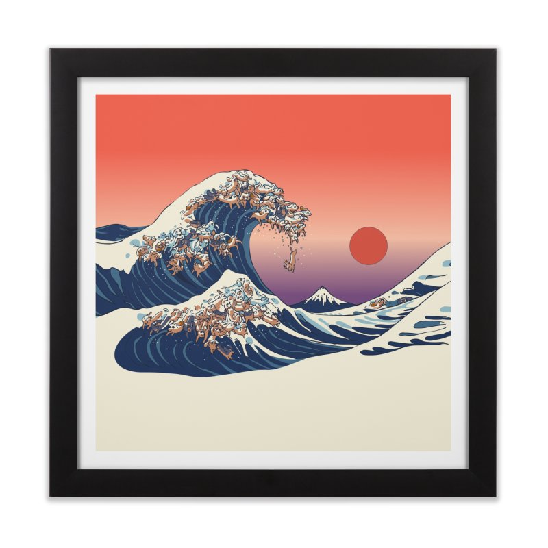 The Great Wave of Dachshunds Home Framed Fine Art Print by huebucket's Artist Shop