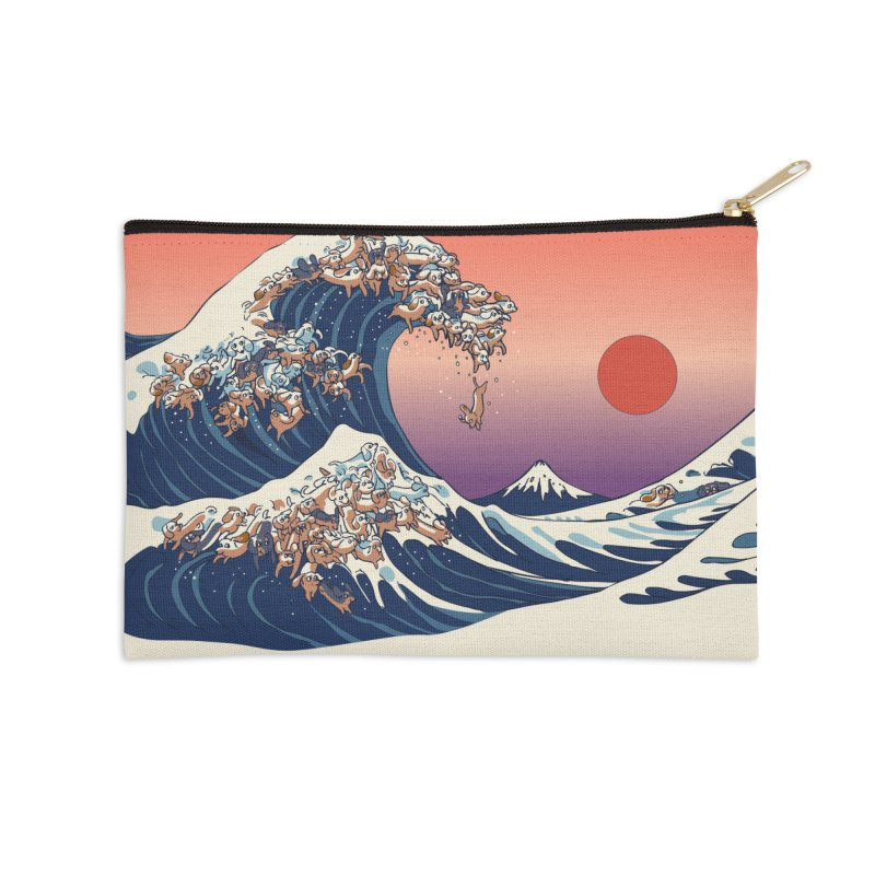 The Great Wave of Dachshunds Accessories Zip Pouch by huebucket's Artist Shop