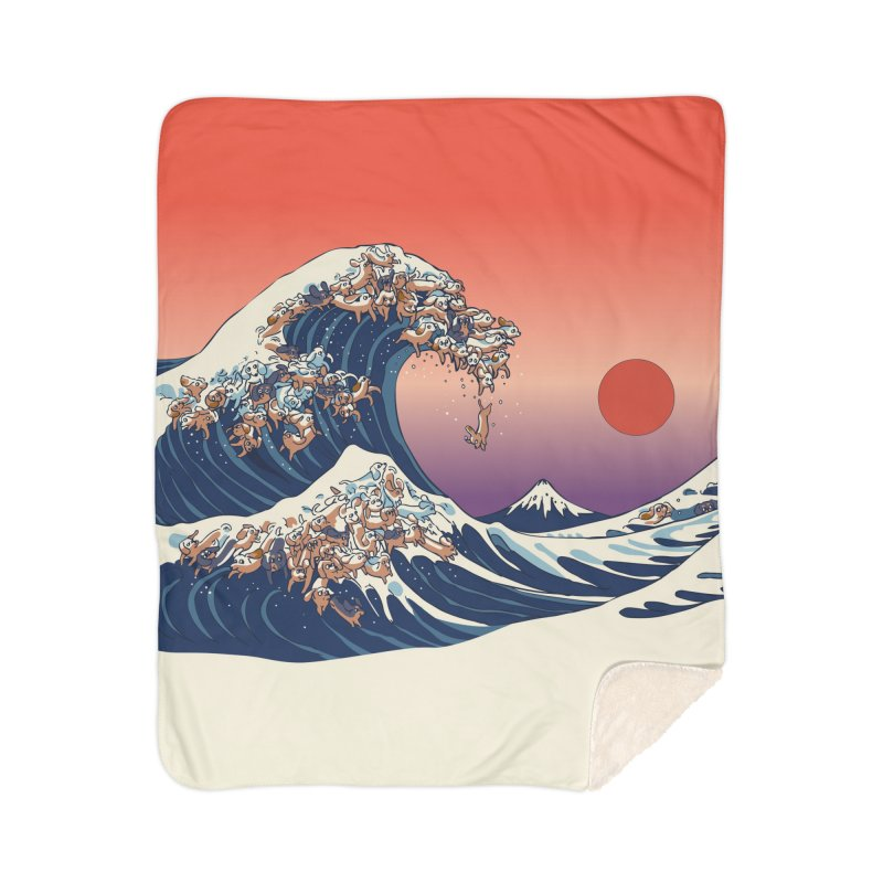 The Great Wave of Dachshunds Home Sherpa Blanket Blanket by huebucket's Artist Shop