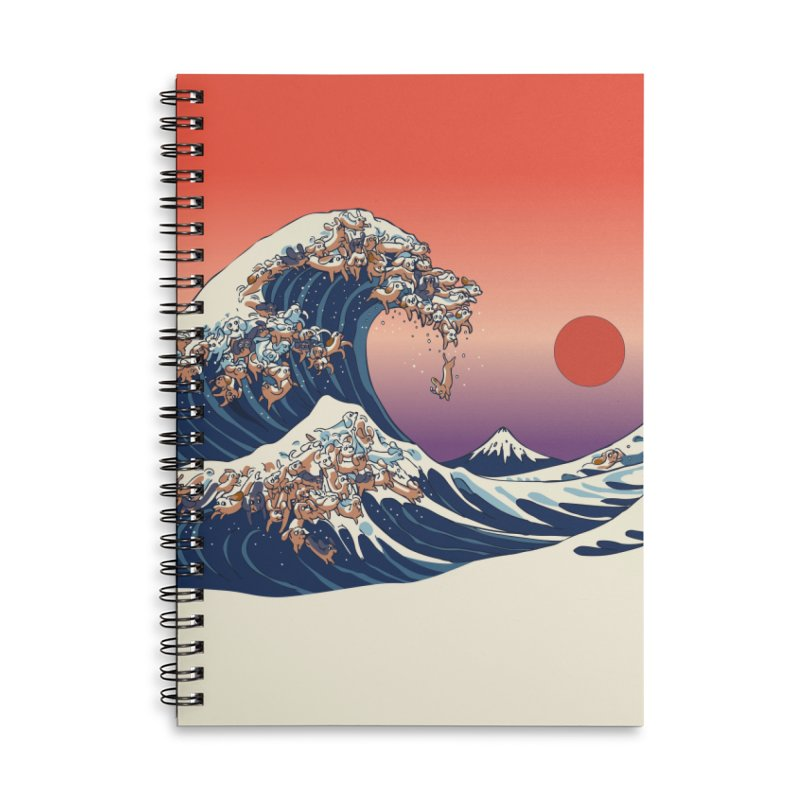 The Great Wave of Dachshunds Accessories Lined Spiral Notebook by huebucket's Artist Shop