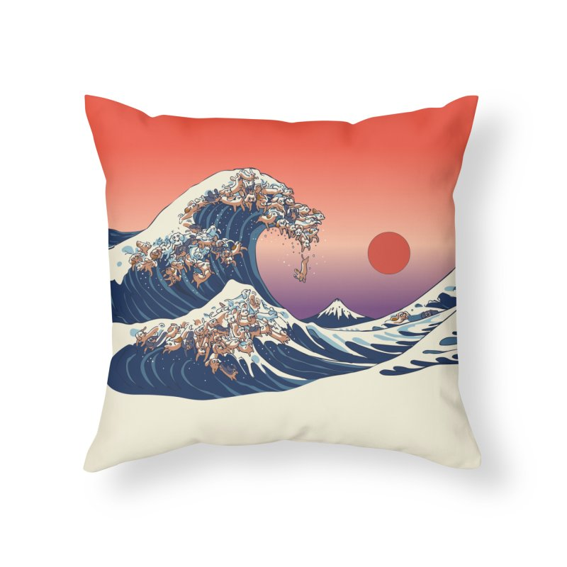 The Great Wave of Dachshunds Home Throw Pillow by huebucket's Artist Shop