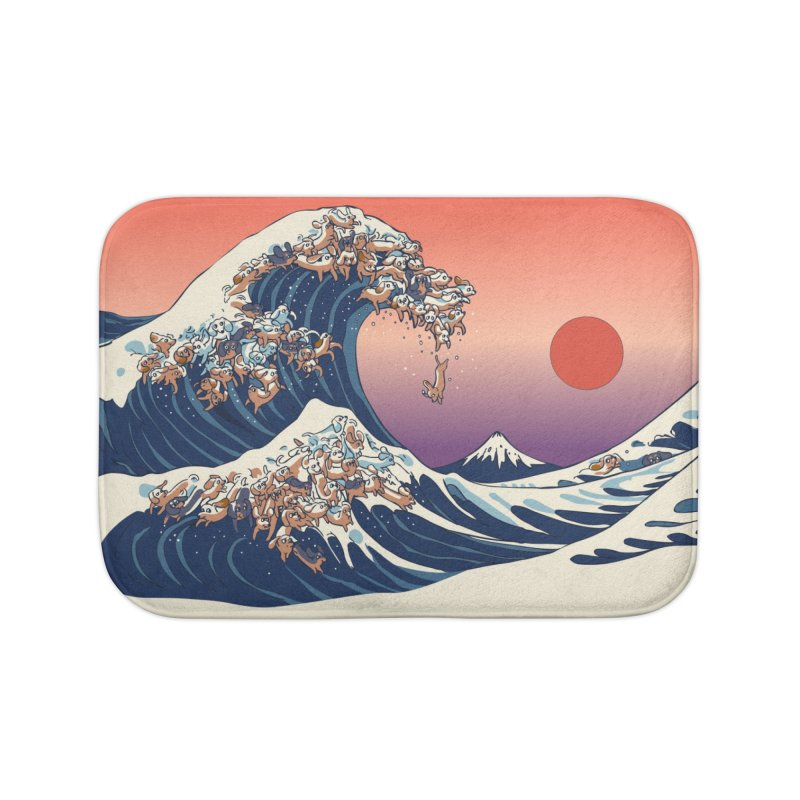 The Great Wave of Dachshunds Home Bath Mat by huebucket's Artist Shop