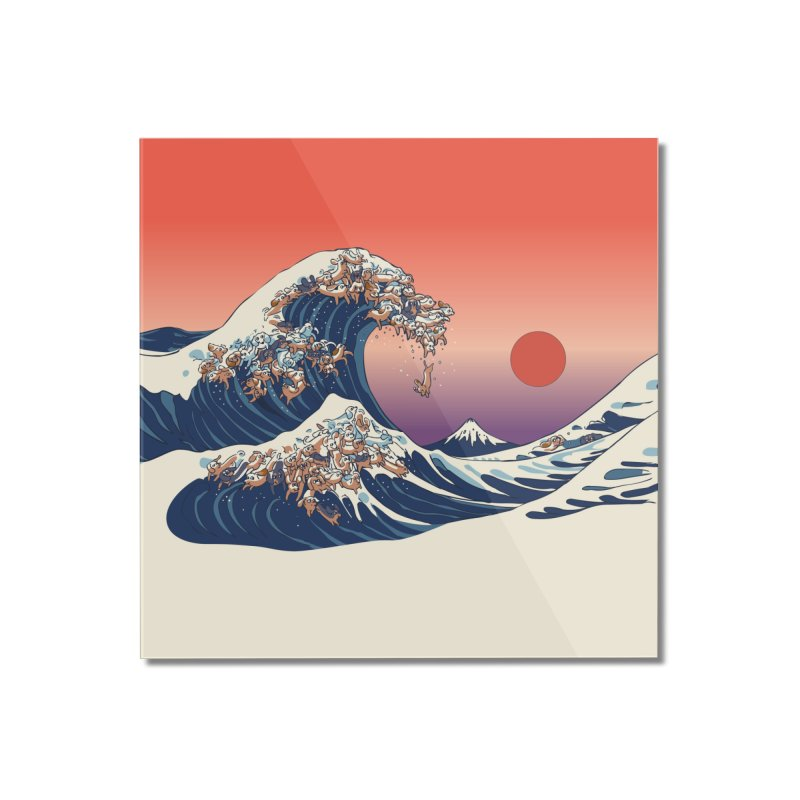The Great Wave of Dachshunds Home Mounted Acrylic Print by huebucket's Artist Shop