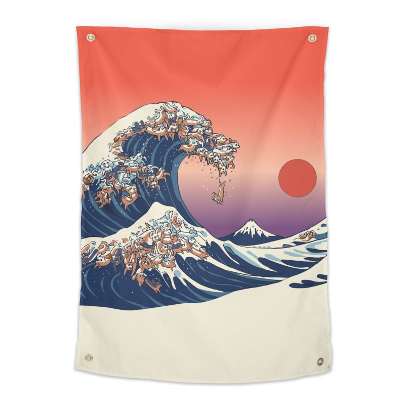 The Great Wave of Dachshunds Home Tapestry by huebucket's Artist Shop