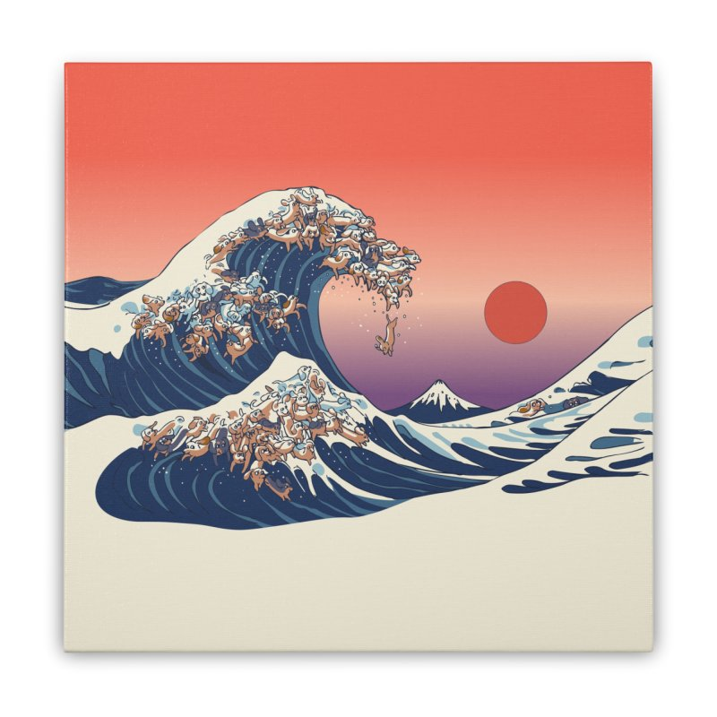 The Great Wave of Dachshunds Home Stretched Canvas by huebucket's Artist Shop