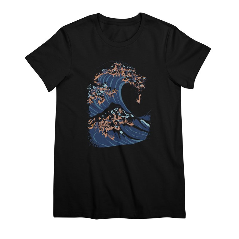 The Great Wave of Dachshunds Women's Premium T-Shirt by huebucket's Artist Shop