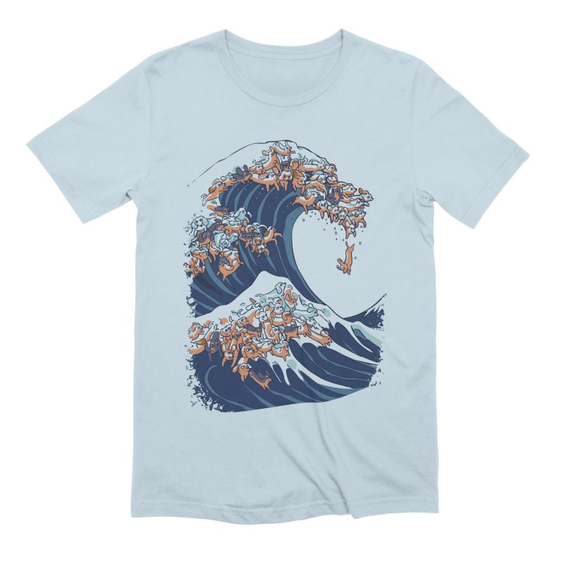 The Great Wave of Dachshunds Men's Extra Soft T-Shirt by huebucket's Artist Shop