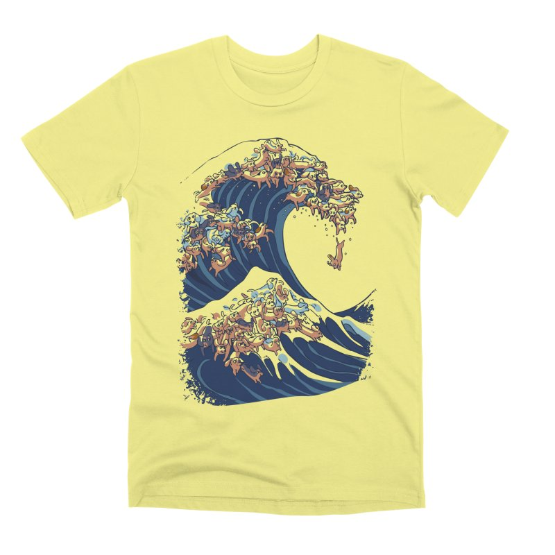 The Great Wave of Dachshunds Men's Premium T-Shirt by huebucket's Artist Shop