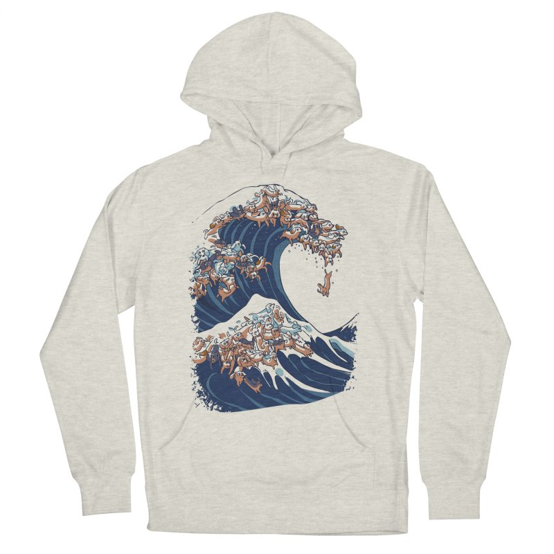 The Great Wave of Dachshunds Men's French Terry Pullover Hoody by huebucket's Artist Shop