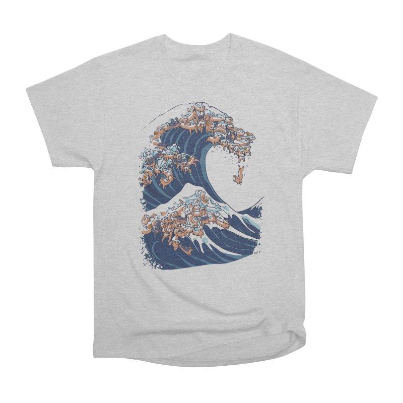 The Great Wave of Dachshunds Women's Heavyweight Unisex T-Shirt by huebucket's Artist Shop