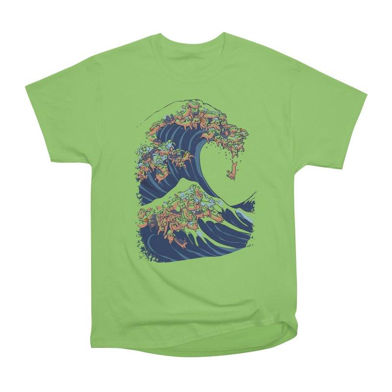 The Great Wave of Dachshunds Men's Heavyweight T-Shirt by huebucket's Artist Shop