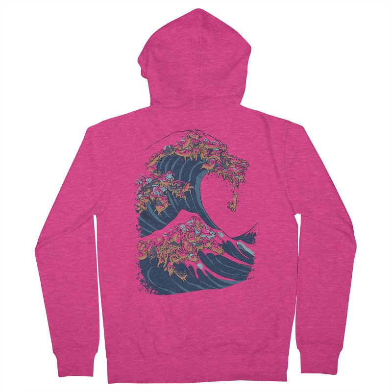 The Great Wave of Dachshunds Women's French Terry Zip-Up Hoody by huebucket's Artist Shop
