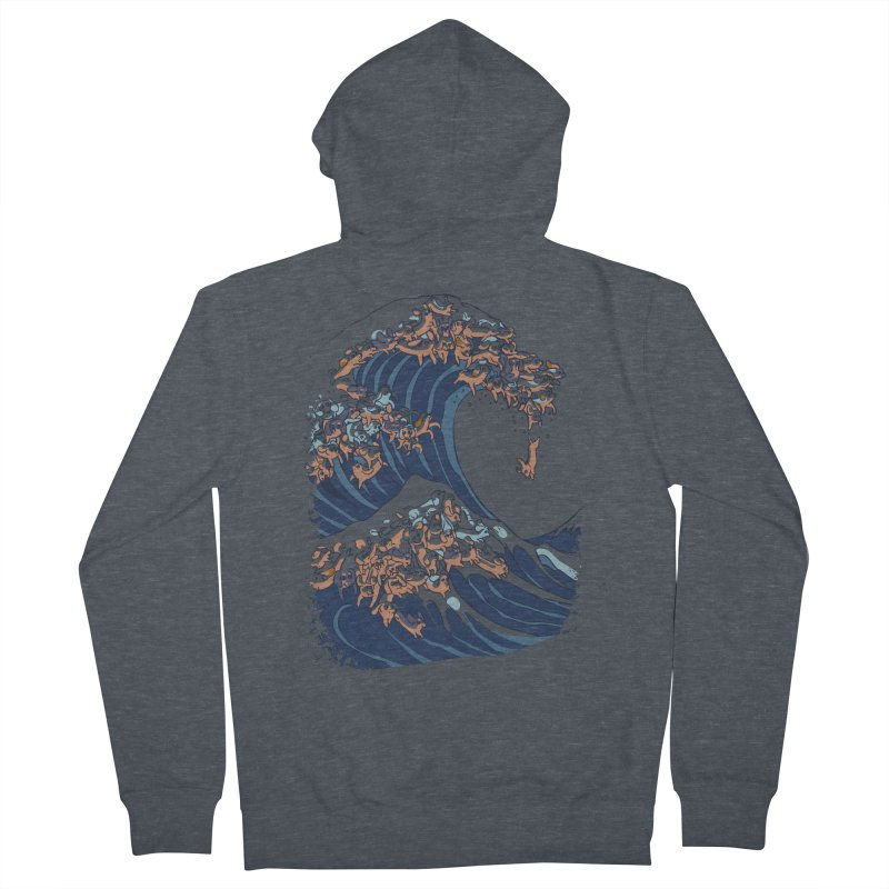The Great Wave of Dachshunds Men's Zip-Up Hoody by huebucket's Artist Shop
