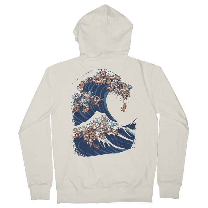 The Great Wave of Dachshunds Men's French Terry Zip-Up Hoody by huebucket's Artist Shop