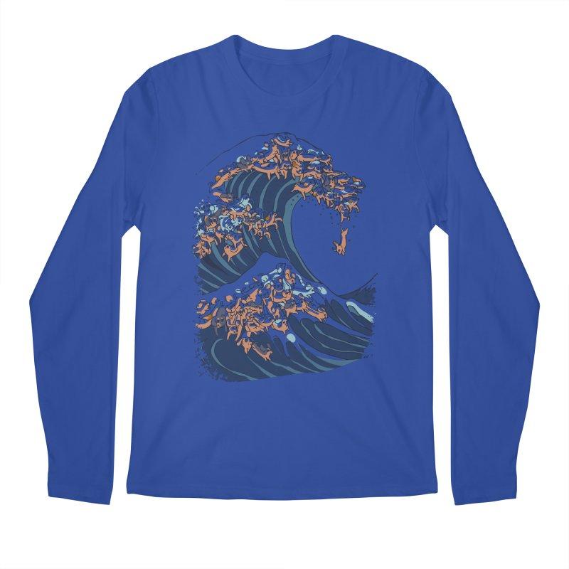 The Great Wave of Dachshunds Men's Regular Longsleeve T-Shirt by huebucket's Artist Shop