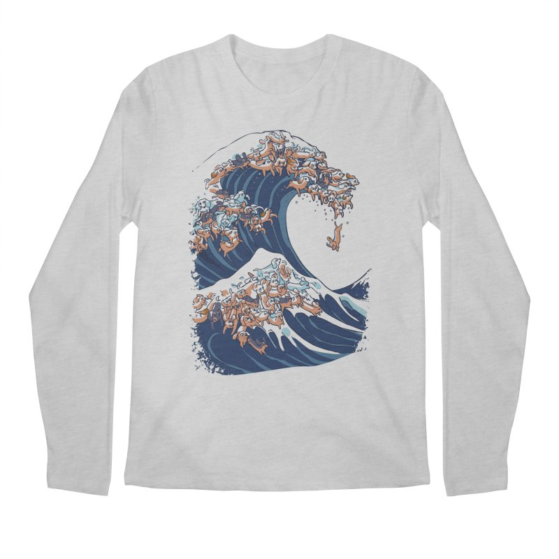 The Great Wave of Dachshunds Men's Regular Longsleeve T-Shirt by huebucket's Artist Shop