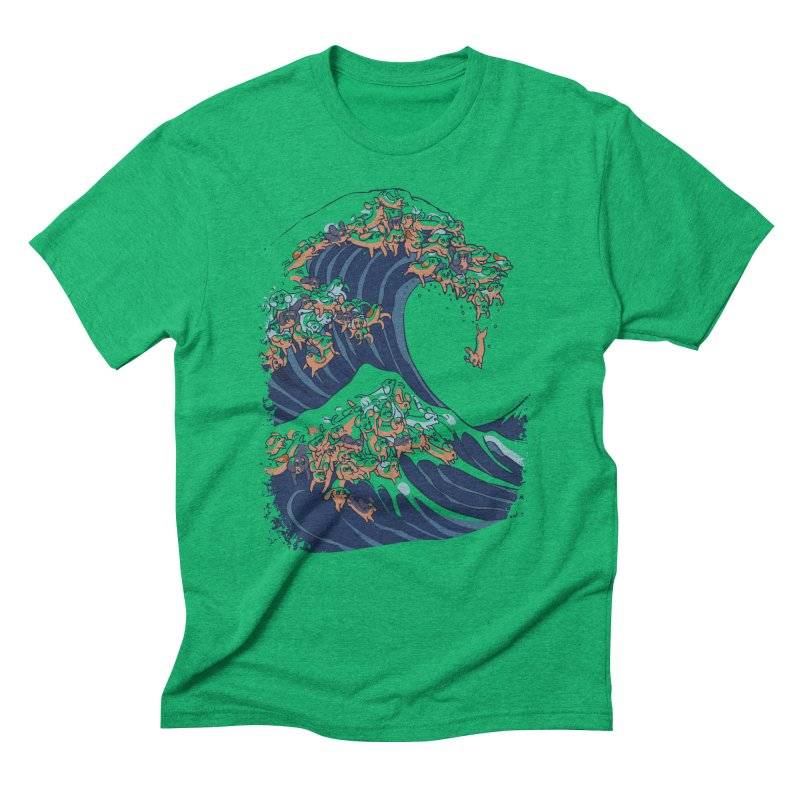 The Great Wave of Dachshunds Men's Triblend T-Shirt by huebucket's Artist Shop