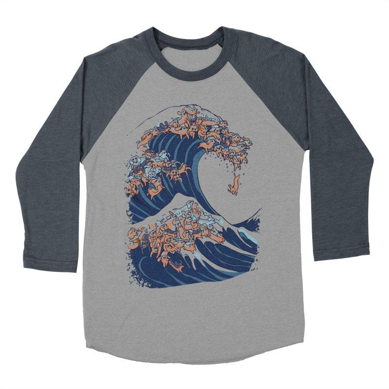The Great Wave of Dachshunds Women's Baseball Triblend Longsleeve T-Shirt by huebucket's Artist Shop