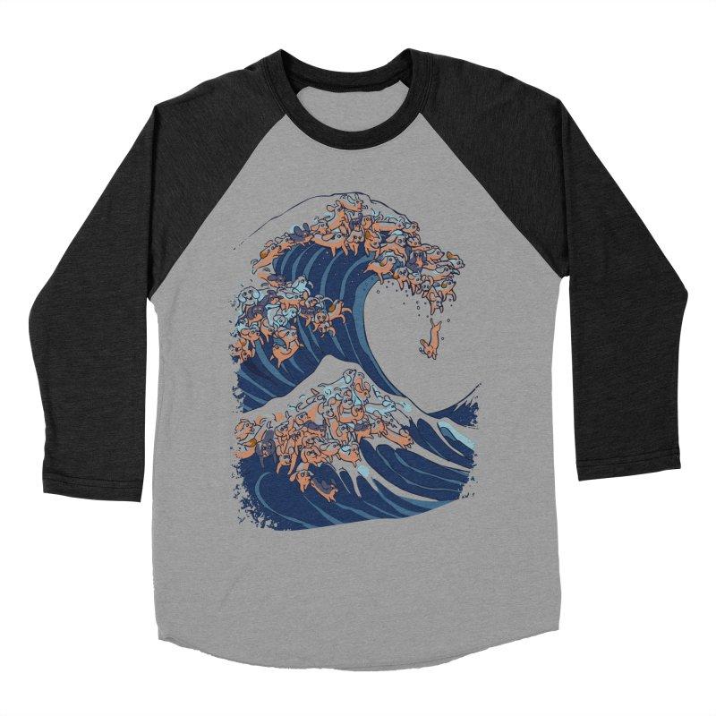 The Great Wave of Dachshunds Men's Baseball Triblend Longsleeve T-Shirt by huebucket's Artist Shop