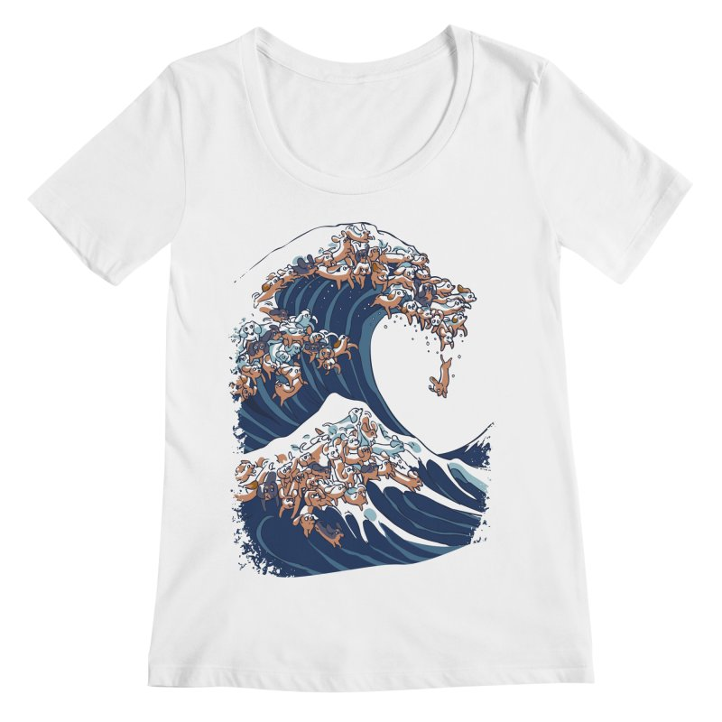 The Great Wave of Dachshunds Women's Regular Scoop Neck by huebucket's Artist Shop