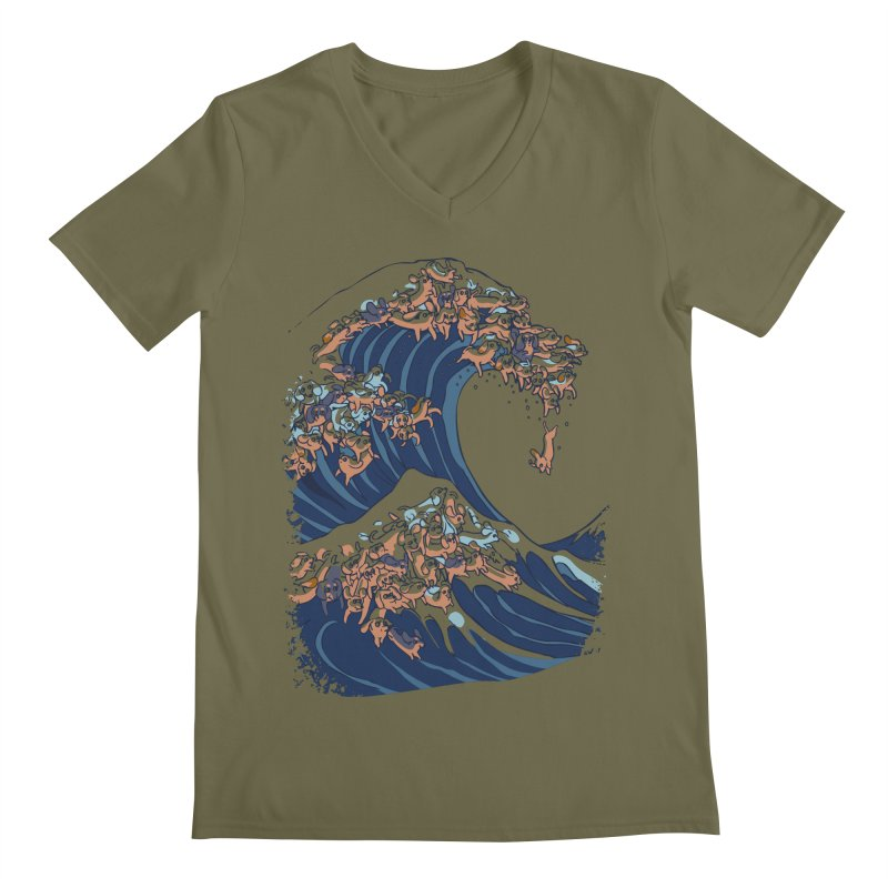 The Great Wave of Dachshunds Men's Regular V-Neck by huebucket's Artist Shop