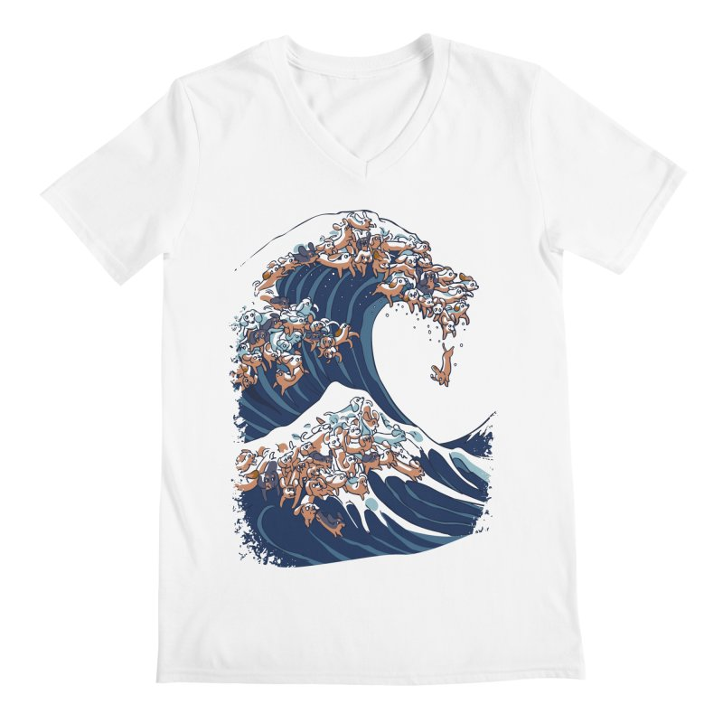 The Great Wave of Dachshunds Men's V-Neck by huebucket's Artist Shop