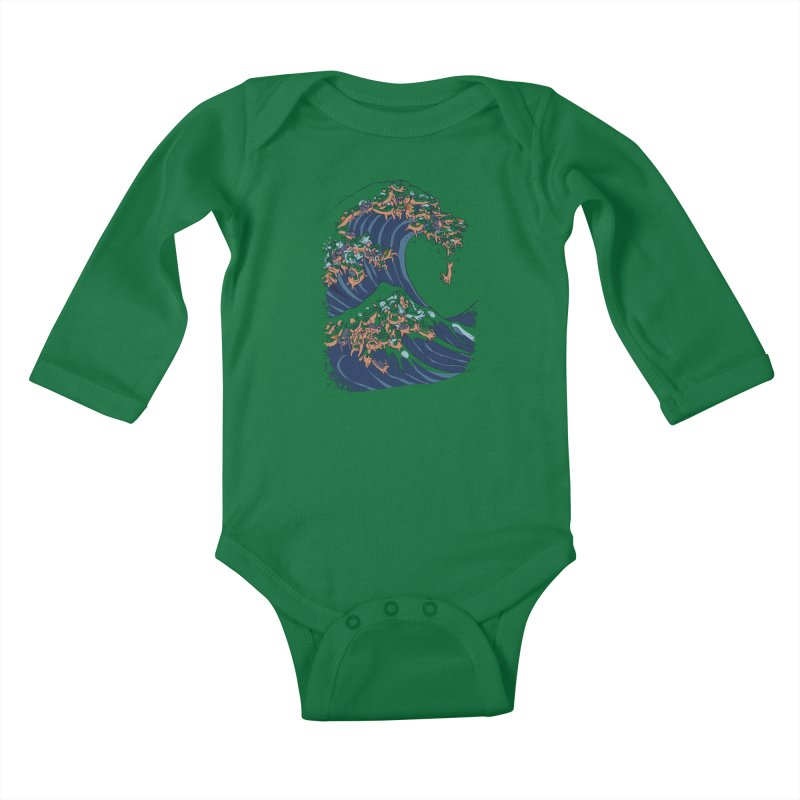 The Great Wave of Dachshunds Kids Baby Longsleeve Bodysuit by huebucket's Artist Shop