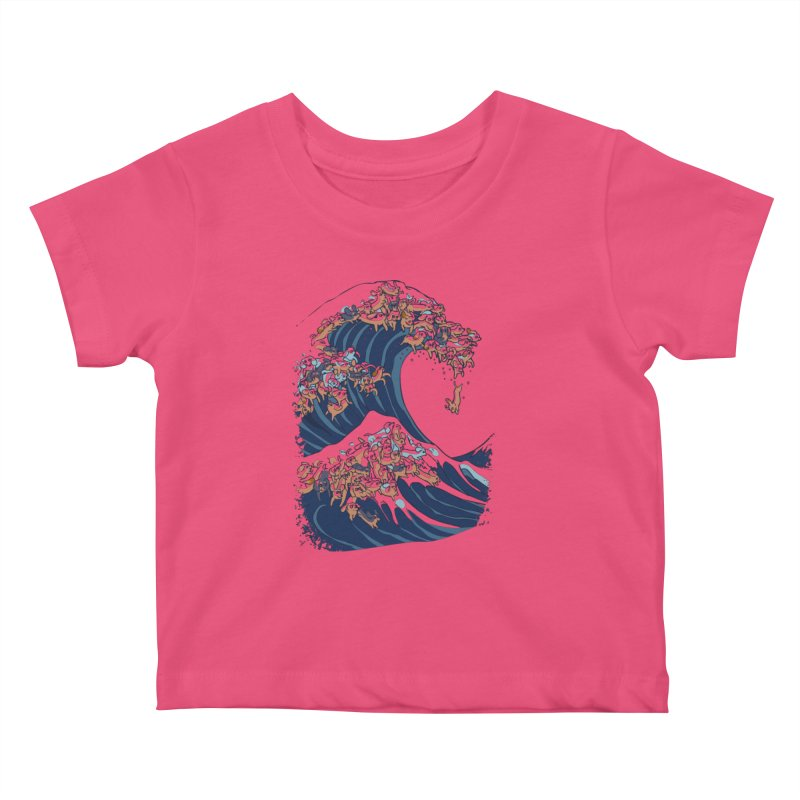 The Great Wave of Dachshunds Kids Baby T-Shirt by huebucket's Artist Shop