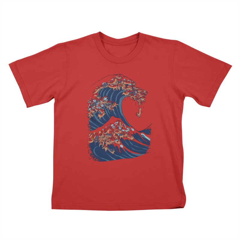 The Great Wave of Dachshunds Kids T-Shirt by huebucket's Artist Shop
