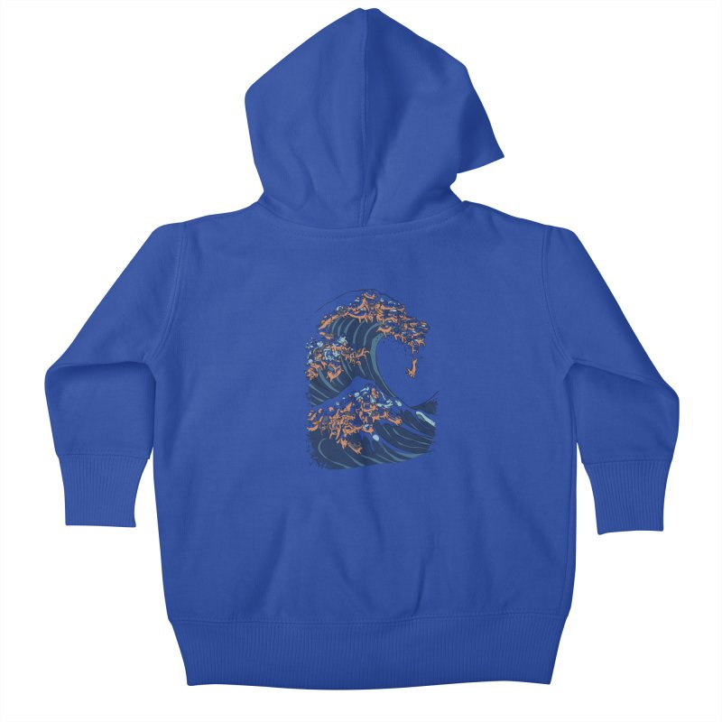 The Great Wave of Dachshunds Kids Baby Zip-Up Hoody by huebucket's Artist Shop