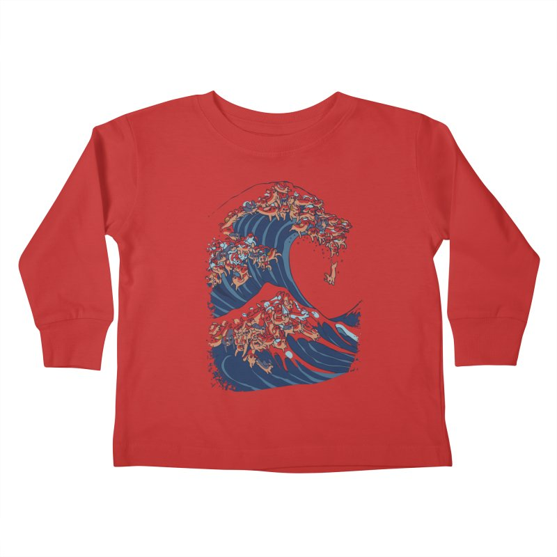 The Great Wave of Dachshunds Kids Toddler Longsleeve T-Shirt by huebucket's Artist Shop