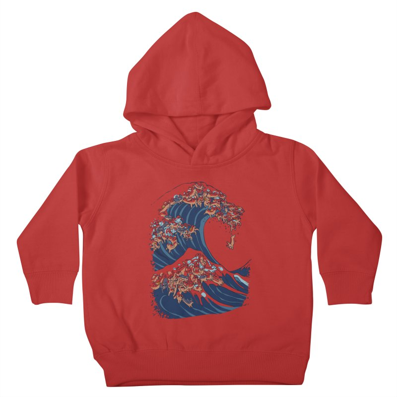 The Great Wave of Dachshunds Kids Toddler Pullover Hoody by huebucket's Artist Shop