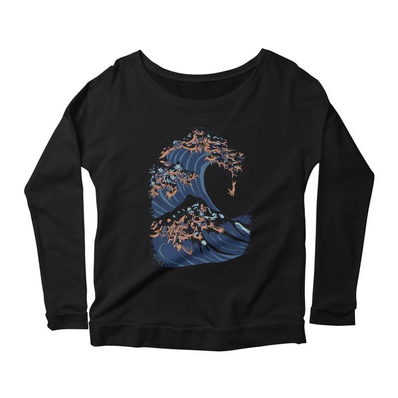 The Great Wave of Dachshunds Women's Scoop Neck Longsleeve T-Shirt by huebucket's Artist Shop