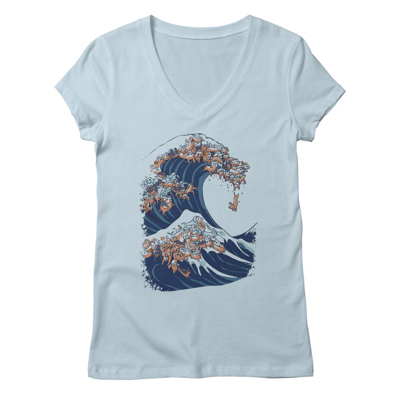 The Great Wave of Dachshunds Women's Regular V-Neck by huebucket's Artist Shop