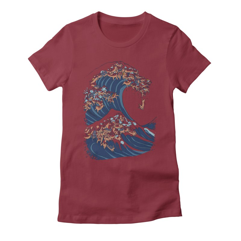 The Great Wave of Dachshunds Women's Fitted T-Shirt by huebucket's Artist Shop