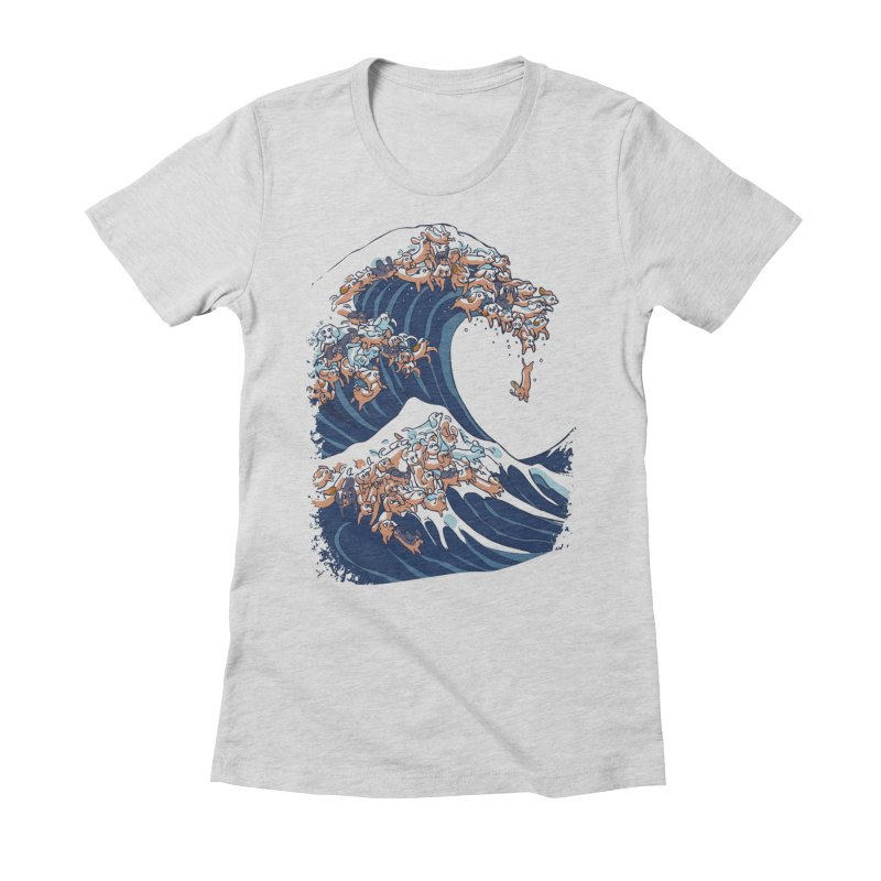 The Great Wave of Dachshunds Women's T-Shirt by huebucket's Artist Shop