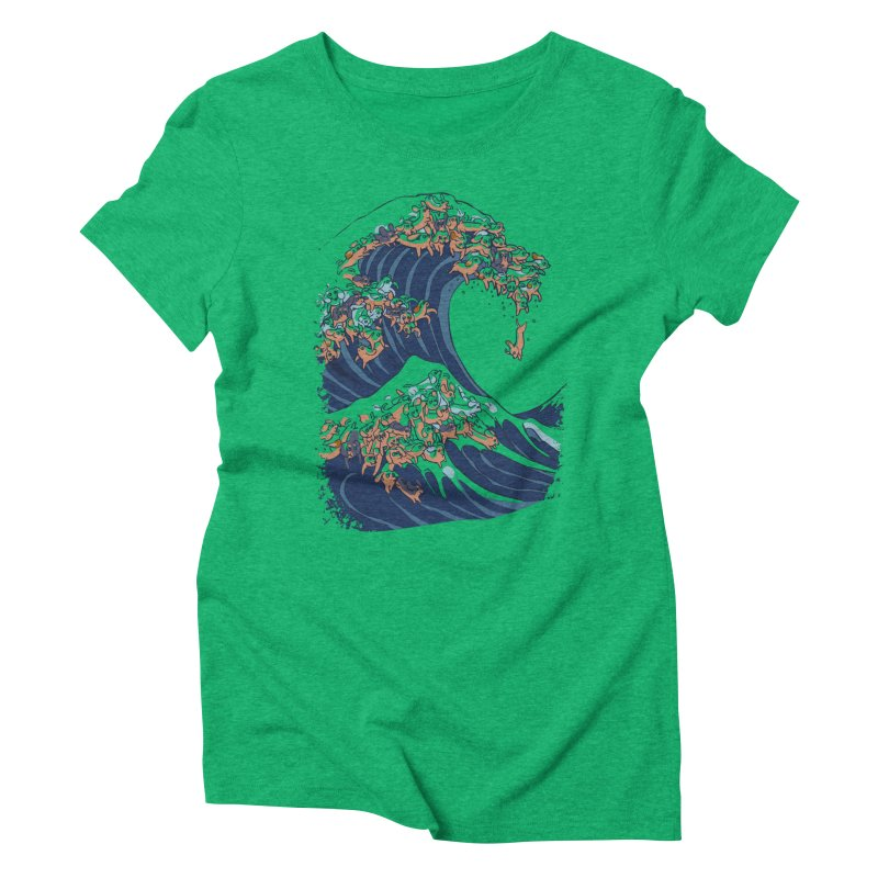 The Great Wave of Dachshunds Women's Triblend T-Shirt by huebucket's Artist Shop