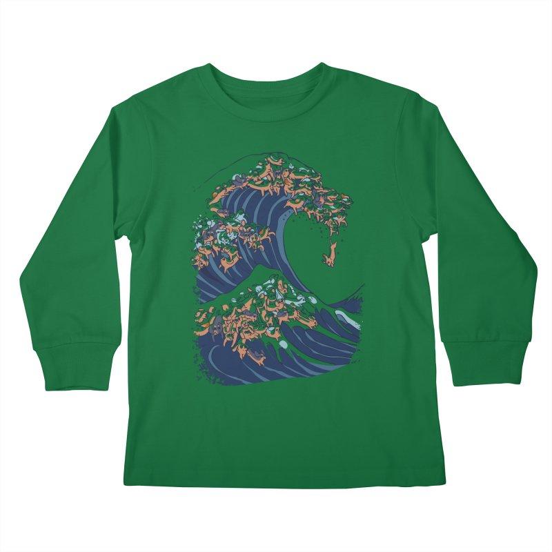 The Great Wave of Dachshunds Kids Longsleeve T-Shirt by huebucket's Artist Shop