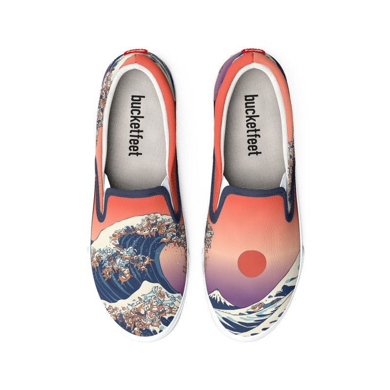 The Great Wave of Dachshunds Men's Shoes by huebucket's Artist Shop