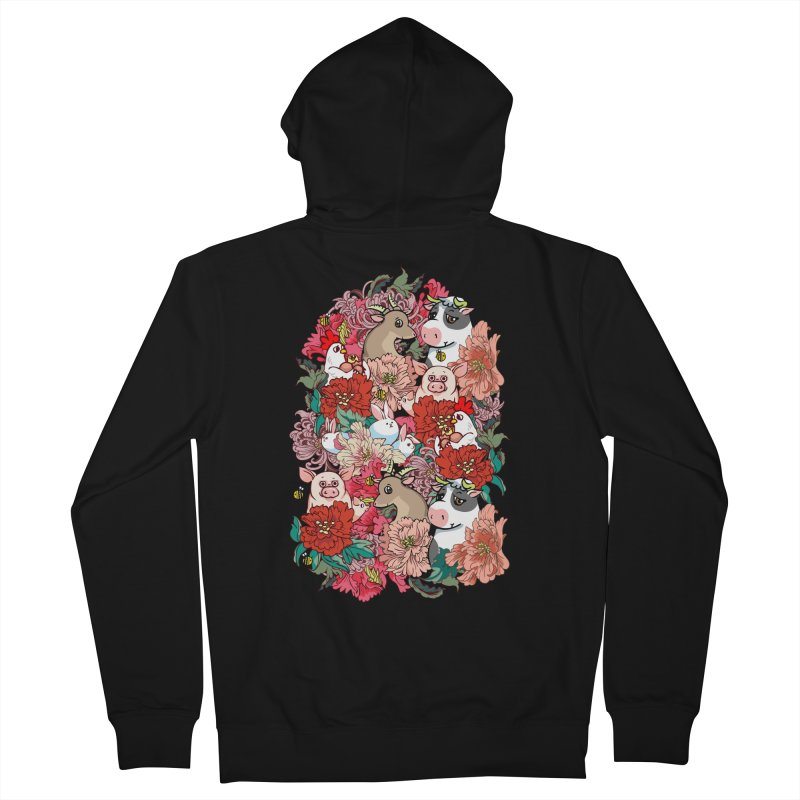 Because Vegan Women's French Terry Zip-Up Hoody by huebucket's Artist Shop