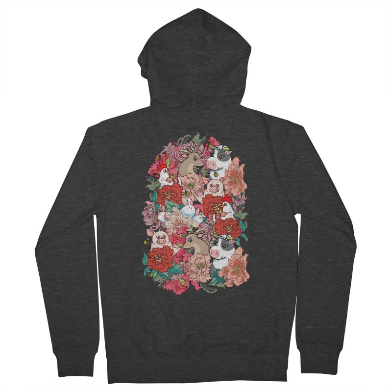 Because Vegan Men's French Terry Zip-Up Hoody by huebucket's Artist Shop