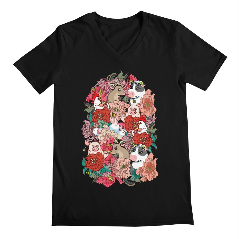 Because Vegan Men's Regular V-Neck by huebucket's Artist Shop