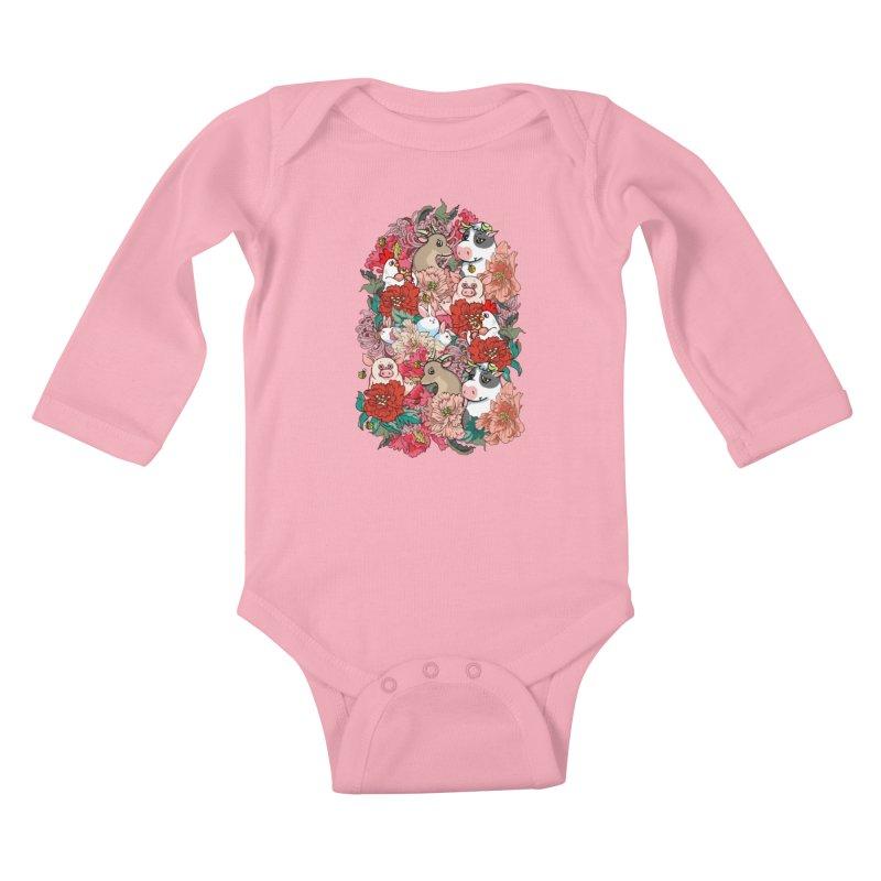 Because Vegan Kids Baby Longsleeve Bodysuit by huebucket's Artist Shop