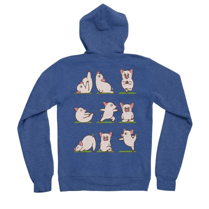 Pig Yoga Men's Sponge Fleece Zip-Up Hoody by huebucket's Artist Shop